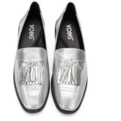 Yoins Silver Leather Look Squre Toe Chunky Heel Slip-on Loafers With. 1fcc30c094d26