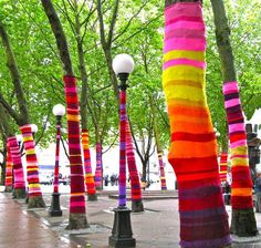 Yarn bombing is a form of street art where yarnwork is attached to places such as lamposts, trees, bicycle racks, benches and more.Begun as an attempt to enliven and beautify cold, urban environments, it has grown into a full-on art movement. These aren't just grandmas and bored housewives looking for a creative outlet and a bit of mischief. Many yarn bombers are fiber artists who connected with the whimsical style and slightly rebellious nature of yarn bombing. In many cases, the yarn…