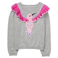 Toddler Girl Heather Grey Hummingbird Pullover by Gymboree