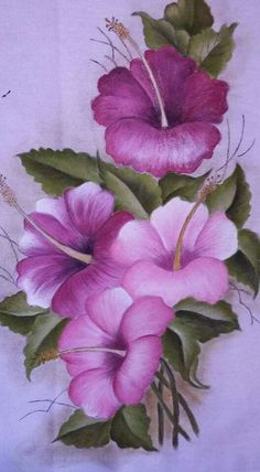 The Pink Hibiscus - Oils over Acrylic Tole Painting, Fabric Painting, Interior Painting, Painting Walls, Art Floral, Fabric Paint Designs, Rock Flowers, Flower Wallpaper, Painting Patterns