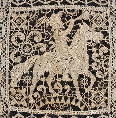 Antique Lace Piece of Robinhood or Horseman With by PruAtelier