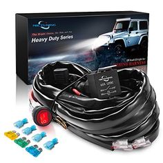 MICTUNING HD+ 12 Gauge 600W LED Light Bar Wiring Harness Kit w/ 60Amp Relay, 3 Free Fuse, On-off Waterproof Switch Red(2 Lead) #MICTUNING #Gauge #Light #Wiring #Harness #Relay, #Free #Fuse, #Waterproof #Switch #Red( #Lead)
