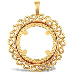 Jewelco London Solid 9ct Yellow Gold Flower Leaf Frame Half Sovereign Coin Mount Pendant
