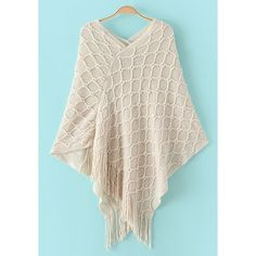 Stylish V-Neck Batwing Sleeve Solid Color Tassels Women's Cape