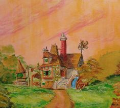 Acrylic paints and colored pencils on canvas board. Belle's Cottage by Beauty and the beast Disney Animated Movies, Wife Birthday, Canvas Board, Disney Animation, Beauty And The Beast, Colored Pencils, Cottage, Deviantart, Painting