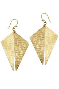 Hand made brass triangle earrings. Crafted entirely by hand, this geometrically inspired design is comprised of two overlapping triangle shapes. Length 7cm. Hand made by artisans at Bombolulu Workshops in Kenya.