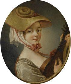 Deshays, Jean-Baptiste-Henri - Woman with a lute.  1729-1765