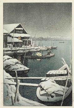 Yuki no Mukojima (Snow at Mukojima), 1930 // Japanese artist Kawase Hasui