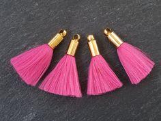 Mini Hot Pink Soft Thread Tassels  Shiny Gold by LylaSupplies