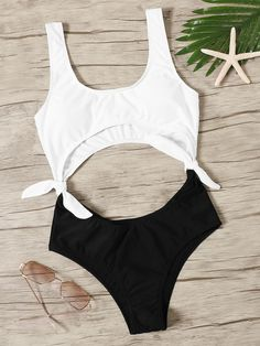 To find out about the Two Tone Cut-out Tie Side Monokini at SHEIN, part of our latest One-Pieces ready to shop online today! Cut Out Swimsuits, Cute Swimsuits, One Piece Swimwear, One Piece Swimsuit, Bandeau Swimsuit, Women's Swimwear, Lingerie, Bikini Body Guide, Cute Bathing Suits