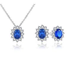 YL Jewelry Set 925 Sterling Silver Created Sapphire Gemstone Oval Stud Earrings and Pendant Necklace, 18 Inches Chain * Read more at the image link. #JewellerySets