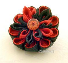 Two tone Kanzashi Fabric Flower Kanzashi hair clips by NikieArt