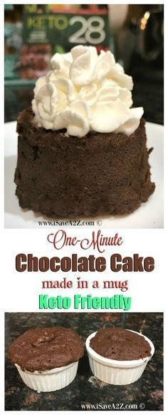 One Minute Keto Chocolate Mug Cake This is one of the BEST Keto Chocolate Mug Cake recipes I have ever tried. It really does only take one minute to cook in the microwave too! It's…More 15 Guilt Free Keto Diet Friendly Dessert Recipes Desserts Keto, Brownie Desserts, Keto Friendly Desserts, Mini Desserts, Dessert Recipes, Dessert Ideas, Easy Keto Dessert, Dinner Recipes, Cupcake Recipes