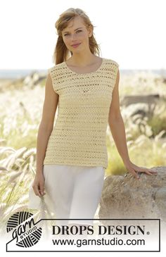 Mimosa Top in DROPS BabyAlpaca Silk. Beautiful and free #crochet pattern by #DROPSDesign