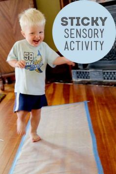 Sensory activity for toddlers - tape contact paper to the floor, sticky side up, and let them walk on it with bare feet. Later let them stick small objects to it (colorful paper, pom poms, beans)