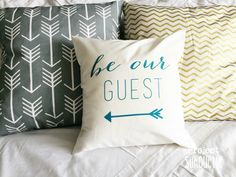 Project Silhouette | Be Our Guest Pillow: Heat Transfer Vinyl Tutorial | http://www.projectsilhouette.com