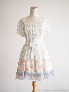 axes femme Spring Foral Carousel Ribbon OP Dress MORI GIRL Lolita Kawaii Japan #AxesFemme #PeplumTunic #HarajukuLolitafashion