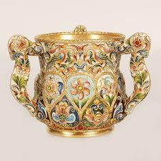 A Russian silver gilt and shaded cloisonné enamel three-handle cup, Feodor Ruckert, Moscow, late century. Tea Cup Saucer, Tea Cups, Home Deco, Russian Art, Tea Set, 30, Glass Art, Porcelain, Enamel
