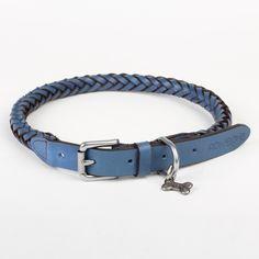Darcy Leather Dog Collar in Blue.  From £59  www.rokabone.co.uk