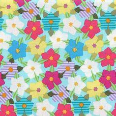 Medium Flower Stripe Leaves Lagoon Island Hibiscus Quilt Sew Fabric MILLER