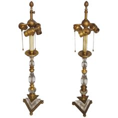 Pair of Crystal and Bronze Neoclassical Table Lamps Attributed to E.F. Caldwell | From a unique collection of antique and modern table lamps at https://www.1stdibs.com/furniture/lighting/table-lamps/