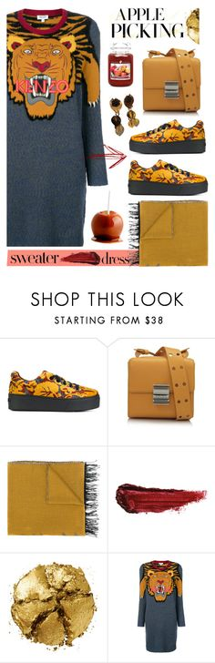 """""""Apple Picking"""" by tinkabella222 ❤ liked on Polyvore featuring Kenzo, By Terry, Pat McGrath, kenzo, applepicking and sweaterdresses"""