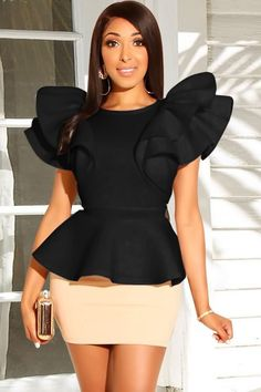 Women Two Tone Ruffles Peplum Sexy Bodycon Skirt Set – White, S Women Two Tone Ruffles Peplum Sexy Bodycon Skirt Set – White, XL Latest African Fashion Dresses, African Print Fashion, African Blouses, Stylish Tops, Body Con Skirt, Two Piece Dress, Classy Dress, African Dress, Fashion Outfits