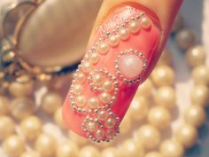 3D CORAL PEARLS BEADS SEQUIN DESIGN ACRYLIC NAIL ART | STEP BY STEP TUTO...
