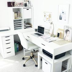 White & Gold Office // Beauty and the Chic