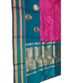 Pink handloom Banarasi Katan Silk Saree-blue green palloo