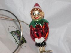 Pixie on a shelf elf Glass Old World Christmas Ornament NWT 24154 New