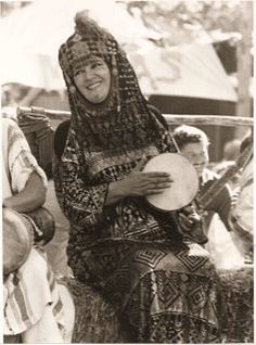 Jamila Salimpour playing drum with Bal Anat in the early 1970s at the Renaissance Pleasure Faire.