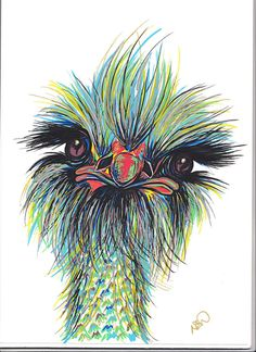 Ostrich Art Print by NatalieAliceArt on Etsy, Nursery Art, Children's Art, Funny Animal Art, Cute, New Home, Art Prints