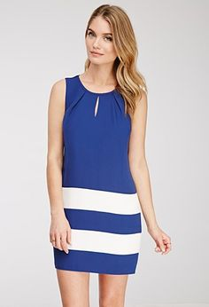Buy it now. LOVE21 Women's  Navy & Ivory Contemporary Colorblock-Striped Shift Dress. Forever 21 Contemporary - A sophisticated take on colorblocking, the eye-catching stripes on this sleeveless crepe shift dress are sure to meet your sartorial standards. It's finished with a modest keyhole cutout at the yoke, plus a stun-worthy polished zipper at the side. Fully linedLightweight, woven100% polyester35%22 full length, 38%22 chest, 38%22 waistMeasured from SmallMachine wash coldMade in…