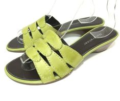 93590f1d8a4 Naturalizer Womens Sandals Green Leather Slides Sz 6 M Slip On Strappy Low  Heel  Naturalizer  Slides