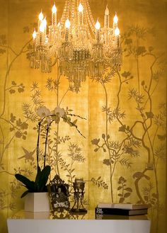 Chinoiserie Wallpaper Gold Foil Silk Product details - View Chinoiserie Wallpaper Gold Foil Silk Wallpaper from Eastern Classical Hand-painted Wallpaper Studio - De Gournay Wallpaper, Silk Wallpaper, Hand Painted Wallpaper, Chinoiserie Wallpaper, Chinoiserie Chic, Metallic Wallpaper, Golden Wallpaper, Handmade Wallpaper, Amazing Wallpaper