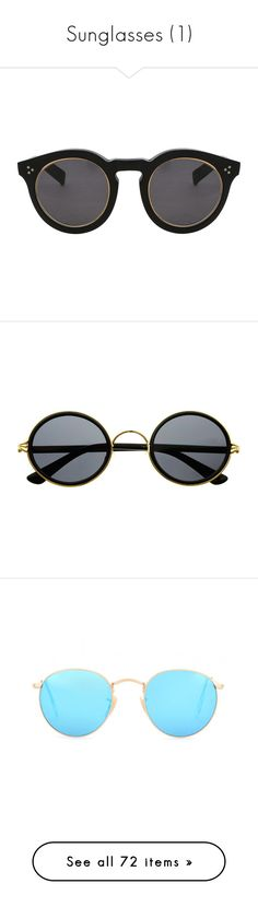 """""""Sunglasses (1)"""" by livuka ❤ liked on Polyvore featuring accessories, eyewear, sunglasses, glasses, black, gold rimmed sunglasses, matte lens sunglasses, gold rimmed glasses, round rim glasses and round rim sunglasses"""