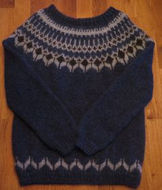 Icelandic traditional natural wool sweater, Type:  Volcania # 1 . Hand knitted by Thora Sigurdar. -  Wool fiber artist.