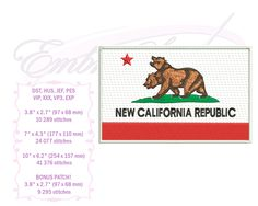 Embroidery Services, Embroidery Files, Machine Embroidery, Embroidery Designs, California Republic, Star Designs, Picture Design, Fallout, Patches