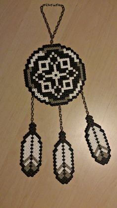 Black & white dreamcatcher Hama perler beads by Natasha Nielsen