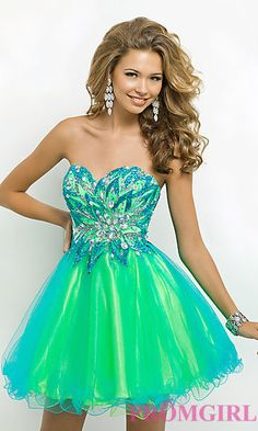 Short Strapless Two Tone Party Dress by Blush 9721 at PromGirl.com