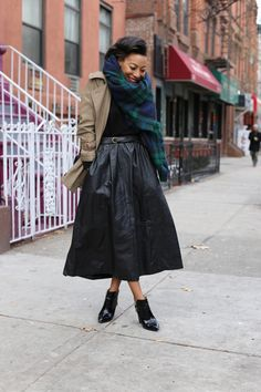 Plaid Zip | Leather midi skirt, Vintage and Midi skirts