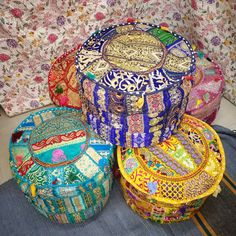 """Indian Patchwork Round Ottoman Pouf Cover 22""""wool ottoman Boho Pouf Upholstered Ottoman Cover Indian pouf Ottoman Cover Handmade Embroidered Diy Ottoman, Ottoman Cover, Round Ottoman, Upholstered Ottoman, Handmade Ottomans, Meditation Cushion, Vintage Patches, Round Pillow, Decorate Your Room"""