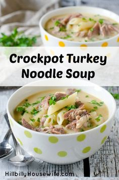 Easy Crockpot Turkey Noodle Soup. Perfect for Thanksgiving leftovers. I make mine with turkey stock and leftover Thanksgiving turkey.