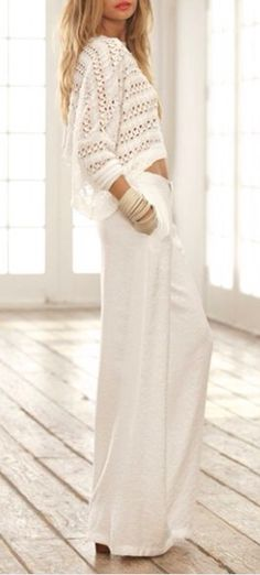 White Crochet Cropped Sweater White Wide Leg Leisure Drawstring Pants