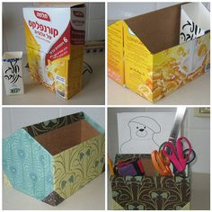 Use cereal box and milk carton to make a stationery box