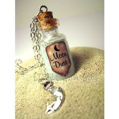 Moon Dust Necklace Glow in the Dark Glass Bottle Cork Necklace Space Galaxy Ice Blue Magic Spells Potion Vial Charm
