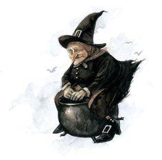 Halloween-Jean-Baptiste Monge illustration-Witch riding a Cauldron