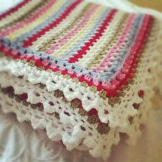 Quietly Stitching: Cath Kidston striped blanket. Lists stylecraft colours used.