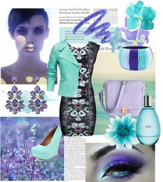 """""""Pastels for Spring - Mint & Purple"""" by kekek ❤ liked on Polyvore"""